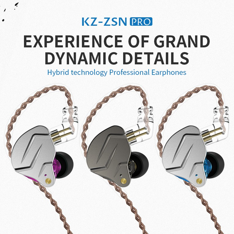 KZ ZSN Pro Metal Earphones In-Ear Headphones